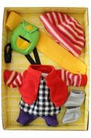 Monchhichi  knuffelpop kleren Boutique B Fleecejack rood met winterse accessoires-1