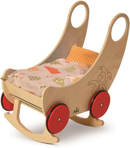 nic houten speelgoed Wiege - Wagen natur