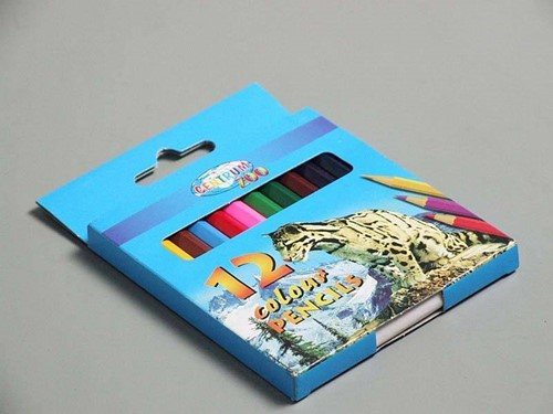 Planet Happy  teken en verfspullen 12 kleurpotloden 8,9 cm