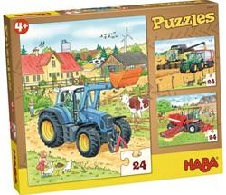 Haba  houten legpuzzel Tractor & co 24 stukjes 300444
