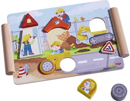 Haba  houten vormenpuzzel bouwen en rijden-2