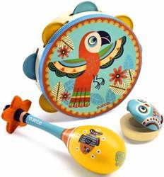 Djeco 3 houten muziekinstrumenten Tambourine, maracas, castanet