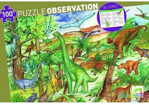 Djeco puzzel Dinosaurussen met boekje - 100 stukjes