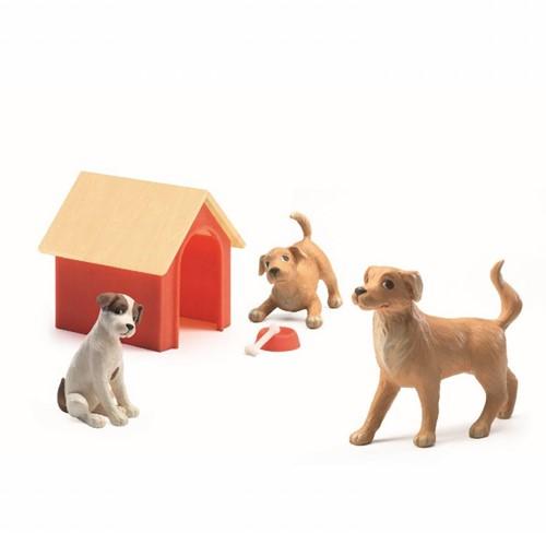 Djeco Poppenhuisdieren 3 Honden Met Hok