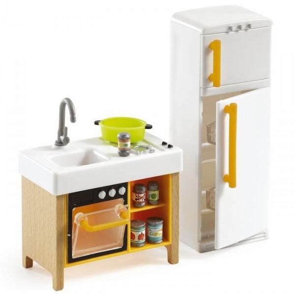 Djeco poppenhuis meubels compact kitchen bij planet happy for Meubels poppenhuis