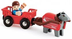 Brio  houten trein accessoire Paard en wagen 33794