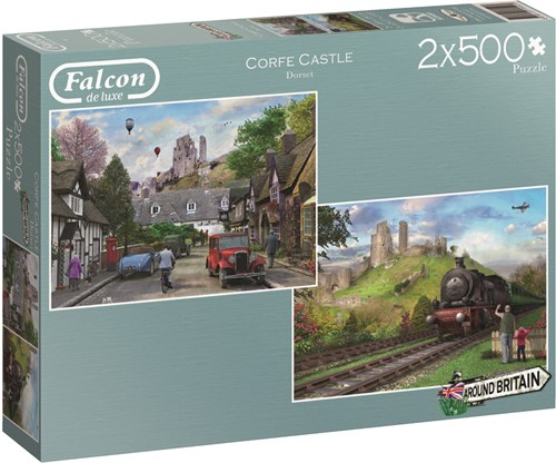 Jumbo puzzel Falcon Around Britain Corfe Castle - 2x500 stukjes