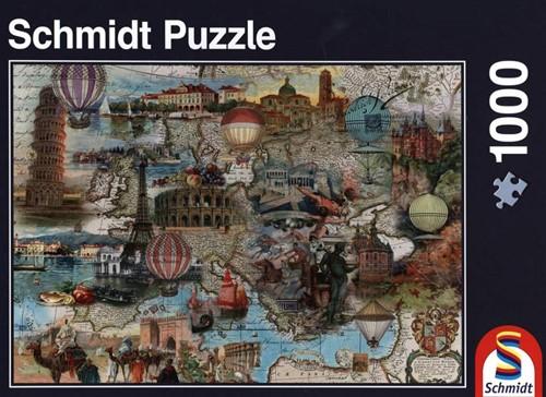 Schmidt legpuzzel Ballonvaart door Europa, 1000 stukjes