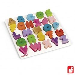 Janod  houten vormenpuzzel Wood - puzzel ABC