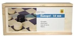 Longfield Games bordspel Damstenen bruin/zwart kist 32mm