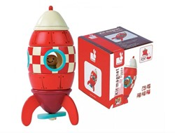 Janod  houten leerspel Magneetset raket medium