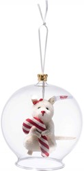Steiff Candy Cane mouse in bauble ornament, white