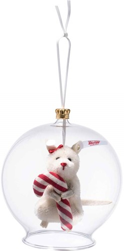 Steiff limited edition Candy Cane mouse in bauble ornament, white