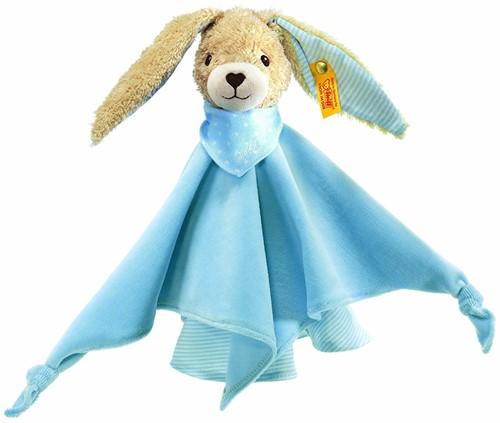 Steiff knuffel Hoppel rabbit comforter, blue - 28cm
