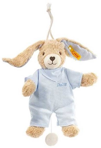 Steiff Hoppel rabbit music box, blue