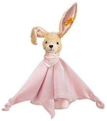 Steiff knuffel Hoppel rabbit comforter, pink 28 CM