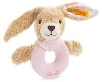 Steiff knuffel Hoppel rabbit grip toy with rattle, pink - 12cm