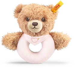 Steiff Sleep well bear grip toy with rattle, pink