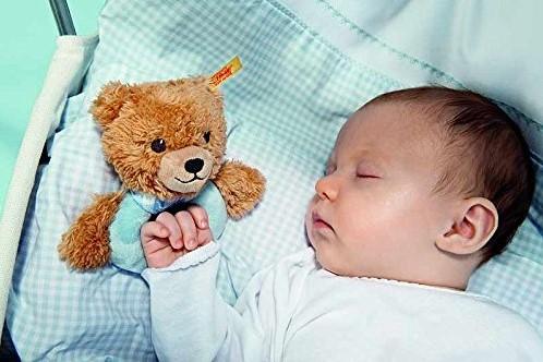 Steiff knuffel Sleep well bear grip toy with rattle, blue - 12cm-2