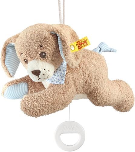 Steiff baby Good night dog music box, blue - 22cm