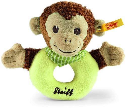 Steiff Jocko monkey grip toy with rattle, brown/beige/green
