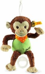 Steiff Jocko monkey music box, brown/beige/green