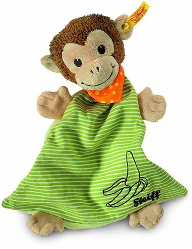 Steiff knuffel Jocko monkey comforter, brown/beige/green - 26cm
