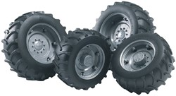 Bruder  - Accessories: TOP Pro tractors twin tyres with silver rims