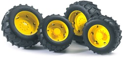 Bruder  - Accessories: TOP Pro tractors twin tyres with yellow rims