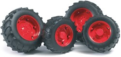 Bruder  - Accessories: TOP Pro tractors twin tyres with red rims