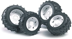 Bruder  - Accessories: TOP Pro tractors twin tyres with white rims