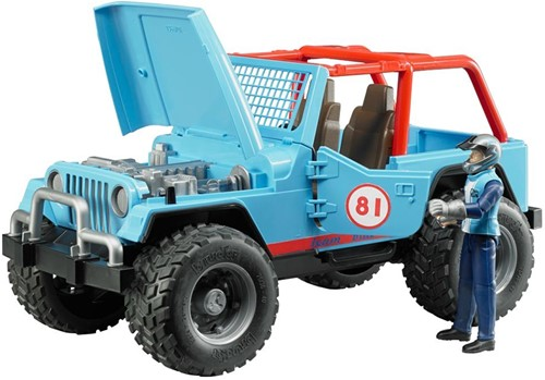 Bruder Jeep Cross Country Blauw met rally-rijder-3