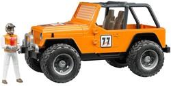 Bruder Jeep Cross Country Oranje met rally-rijder