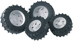 Bruder  - Access.: Twin tyres with white rims for tractor Series 03000