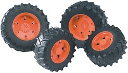 Bruder  - Access.: Twin tyres with orange rims f. tractor Series 03000