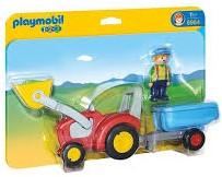 Playmobil  1.2.3. Boer met tractor en aanhangwagen 6964