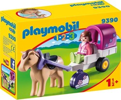 Playmobil 1.2.3 Paard met kar  9390