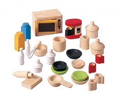 Plan Toys  houten poppenhuis meubels Keukenaccessories