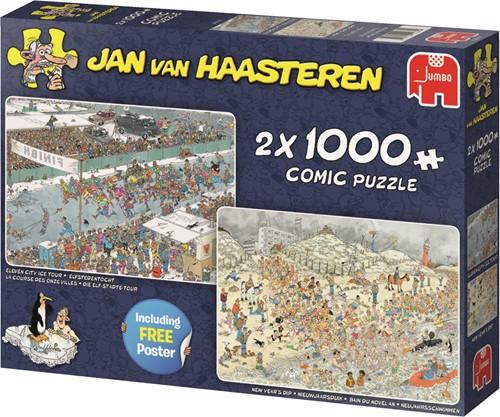 Jumbo puzzel Jan van Haasteren Winterpret 2in1 - 2x1000 stukjes
