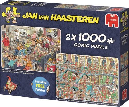 Jumbo puzzel Jan van Haasteren Fijne Feestdagen 2in1 - 2x1000 stukjes