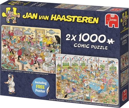 Jumbo puzzel Jan van Haasteren Eet- en Bakfestijn 2in1 - 2x1000 stukjes