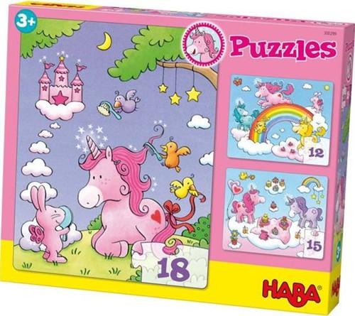 HABA Puzzels - Eenhoorn Flonkerglans - 12, 15 & 18 stukjes