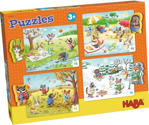 HABA Puzzels - De seizoenen -  4x 15 stukjes