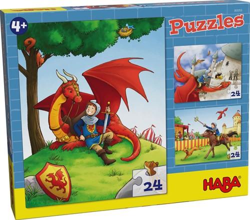 Haba legpuzzel Puzzels Ridder Kilian 3 x 24 stukjes