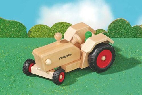 Fagus  houten speelvoertuig Tractor bestuurbaar 24cm-2