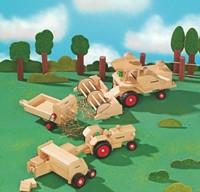 Fagus  houten speelvoertuig Tractor bestuurbaar 24cm-3