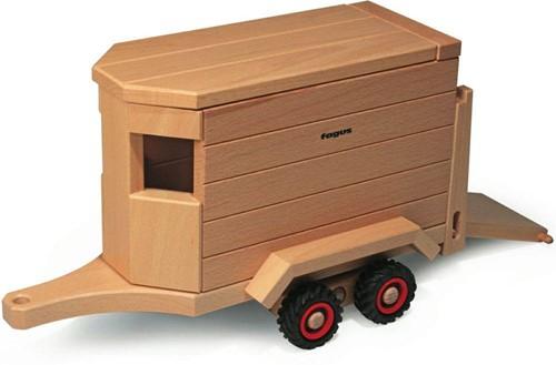 Fagus  houten speelvoertuig paardentrailer 32cm-1