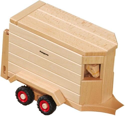 Fagus  houten speelvoertuig paardentrailer 32cm