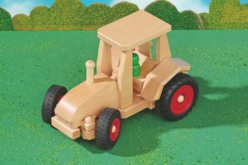 Fagus  houten speelvoertuig tractor met kap be 29cm-2