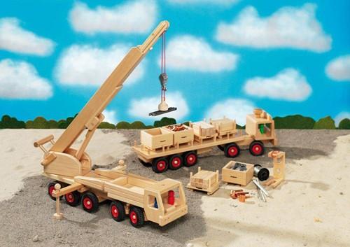 Fagus  houten speelvoertuig kraan met magneet 55cm-2